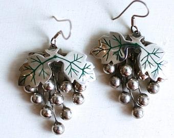 1970s Mexican sterling grape dangle earrings / vintage 70s Mexico 925 silver bead grapes pierced earrings