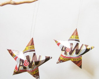 A&W Root Beer Stars Ornaments, Choice of Diet, Regular or Cream Soda Can Upcycled