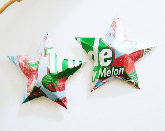 TruAde Fruit Punch Stars Christmas Ornaments Soda Can Upcycled Repurposed