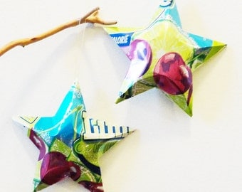Cherry Limeade Stars Christmas Ornaments Soda Can Upcycled Diet Purple Blue Lime Green