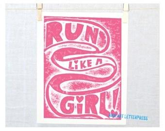 Girl Power Sports Inspirational Print  Teenage Girls Sign, running, Run like a girl, marathon, girls room art, Gift For Wife, Gift for Girl