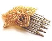 Golden Shimmer Bloom - French Beaded Flower Hair Comb