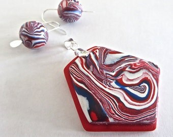 Pendant and Earrings, Jewelry set, Red White and Blue Jewelry, Polymer Clay Jewelry, Gift under 25
