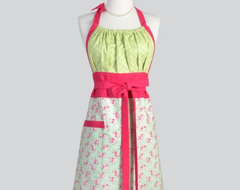 Cute Kitsch Retro Apron - Full Vintage Womens Apron in Vintage Pink Roses on Green Kitchen Apron Cute Apron Chef Apron