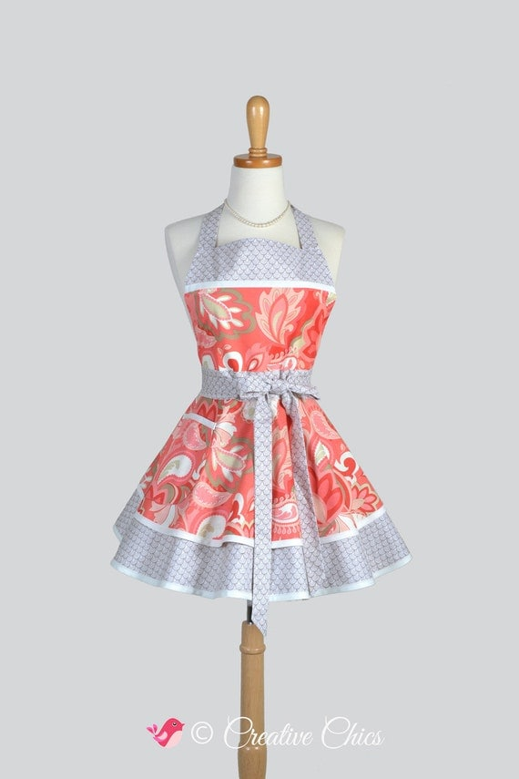 Ruffled Retro Apron . Cute Sassy Womens Retro Apron in Coral Paisley and Taupe Print with Coordinating Navy Blue on White Dot Fabric