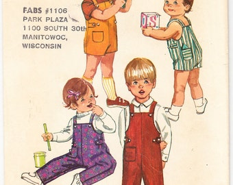 Vintage 1970 Simplicity 9044 Sewing Pattern Toddlers' and Child's Overalls in Two Lengths Size 1/2