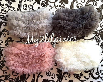Choose 1 Any COLOR Chiffon Ruffle Bum Baby Bloomer Diaper Cover -Photo Prop- 20 COLORs to Choose From-MY2Lilpixies