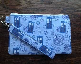 Mad Man in a Blue Box Wristlet with lining and strap