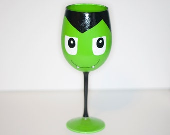 Coffin Boy Green Vampire Hand Painted Wine Glass