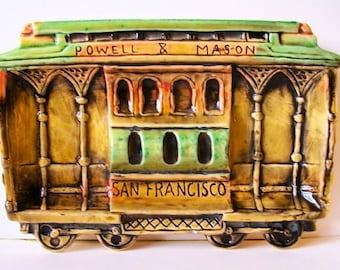 Vintage San Francisco California Souvenir // Powell & Mason Streetcar // E. F. Clements Trolley Cable Car // Plate Wall Hanging Ashtray