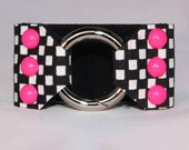 Hot Pink dommed rivets on Black and White Checkered Leather Cuff