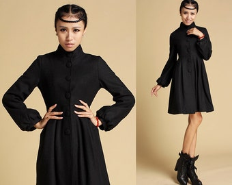 Black wool coat thick lining coat women coat (SALE) 354