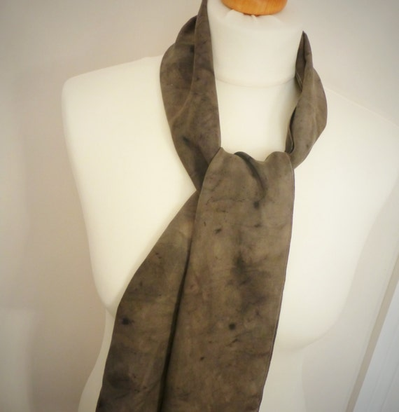 SALE SAVE 50% Long Slim Brown Silk Scarf - Womens Naturally Dyed Organic Printed Shawl - Gift Wrapped