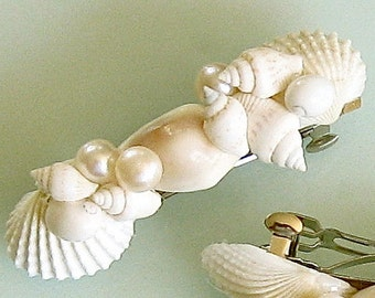 Seashell and Pearl Hair Barrette for Beach Weddings, Parties, Mermaid