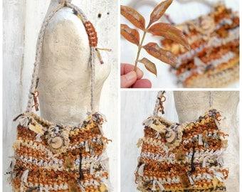 Handmade crochet faery tote bag, Rag purse in fall colors, Fabric scraps bag, Rustic rag bag