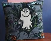 Velvet Owl Cushion/Pillow from an original illustration
