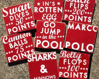 Set of 8 summer POOL signs  7 x 8