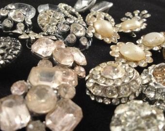 Vintage Rhinestone Buttons Silver Brass Pearl lot of 24