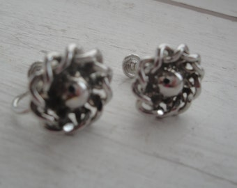 Vintage Silver Round Screw Back Earrings