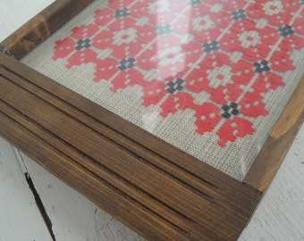 Embroidered Glass Wood Tray Vintage