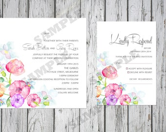 Square Modern Floral Wedding Invitation Set