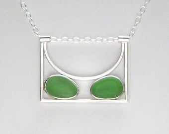Sea Glass Jewelry - Sterling Double Green Sea Glass Necklace