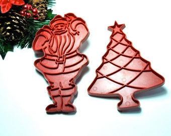 Vintage 60s Christmas cookie cutters, Santa Christmas tree, 1960's red plastic