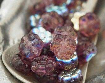 30 - 8mm X 4mm Amethyst AB Czech Flower Beads