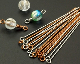10 Handmade Twisted Eye Pins 2 inches 22 gauge - Handcrafted