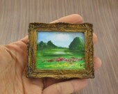 Original Miniature Painting for Collection/ Pastoral Landscape / Dollhouse Acrylic Painting/ Handmade Furniture