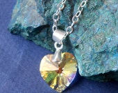 Crystal Heart swaroski and silver chain necklace