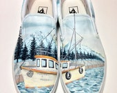 Custom Vans Hand Painted Shoes - Alaskan Fishing Boat and Mountains