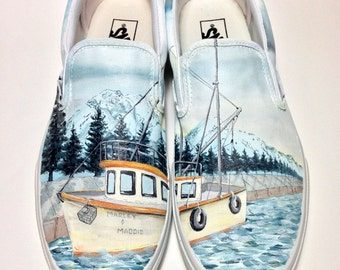 Custom Vans Shoes - Hand Painted Alaskan Fishing Boat and Mountains