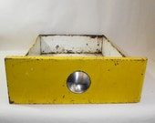Vintage Kitchen Cabinet Metal Drawer Industrial Bright Yellow