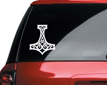 Thor's Hammer Mjolnir Vinyl CAR DECAL Pagan Asatru Norse Viking Sticker