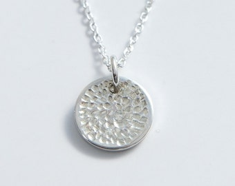 Silver Disc Charm Pendant Necklace Hand Engraved chrysanthemum Cherry Blossom Minimal Jewelry