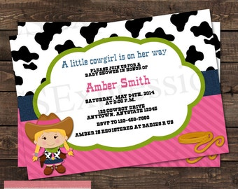 Little Cowgirl on The Way Baby Shower Invitation