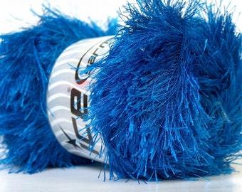 LG 100 gram Royal Blue Eyelash Yarn Ice Fun Fur 164 Yards 22734