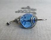Cobalt Blue Necklace, Sapphire Blue Necklace, Blue Czech Glass Necklace, Oxidized Convertible Pendant Necklace