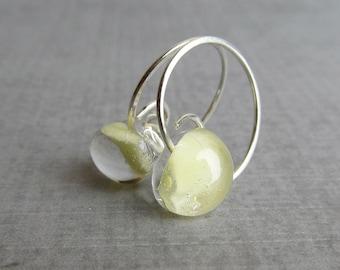 Light Yellow Hoop Earrings, Small Earrings Yellow, Yellow Earrings, Silver Wire Earrings, Lampwork Earrings, Sterling Silver Earrings Hoops
