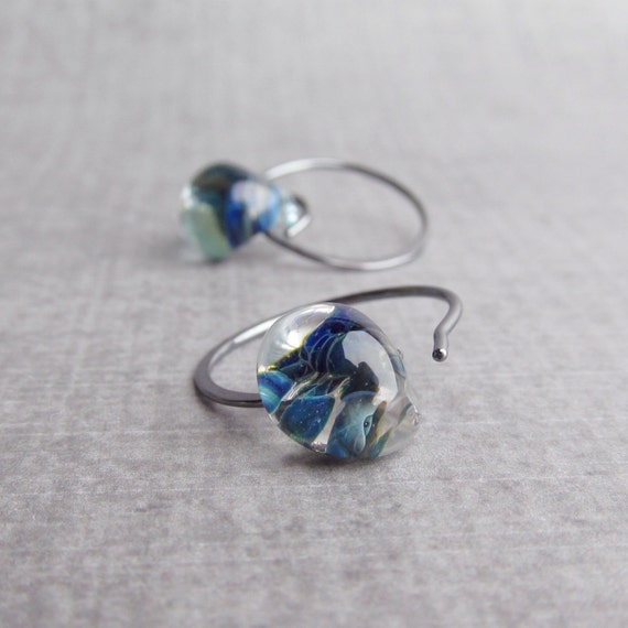 Small Blue Earrings: Mottled Blue Earrings Small Hoop Earrings Wire Earrings