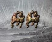 Oxidized Brass Unicorn Charms