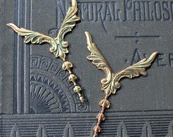 Unusual Oxidized Brass Winged Art Nouveau Findings