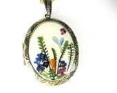 Serenity, Real Flowers Locket, Pressed Flower Jewelry,  Resin and Brass, Repurposed Setting (1599)