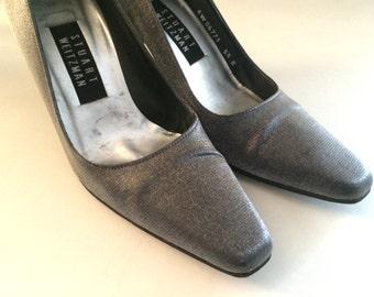 Vintage Shoes Women's 90's Stuart Weitzman, Heels, Silver, Pumps (Size 5 1/2)