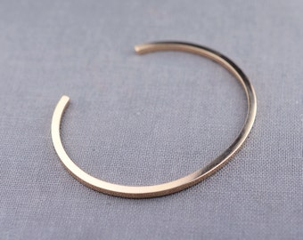 Solid 14K Gold Cuff Bracelet Made From Recycled Eco Friendly Sustainable Gold
