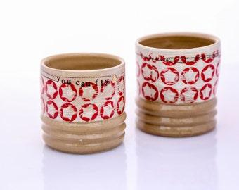 handmade ceramic cup  unique tumbler wheel thrown stoneware