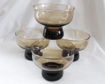 4  Vintage  Hollywood Regency Lowball Drinking Glasses  with Pedestal Base Smoky Dark Amber Brown