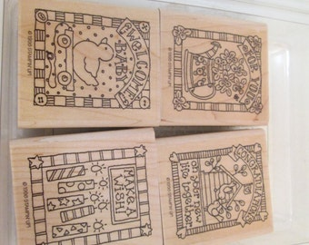 GIFTED GREETINGS 10th Anniversary Edition Rubber Stamp, Scrapbook Set 1998  NEW