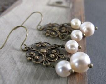 Vintage Inspired Chandelier Earrings, Antique Gold Brass Filigree, Cream Pearl Earrings - DECADENCE